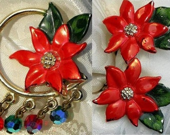 Christmas Vintage Set Brooch Pin Crystals Poinsettia Earrings Demi Parure Mid Century Modernist Holiday Red Bling Aurora Borealis Mad Men