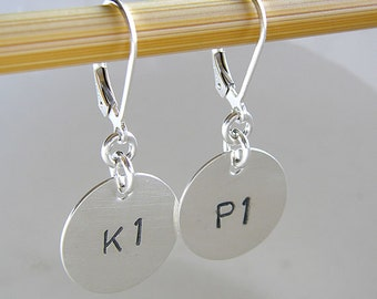 Knitter Earrings - Custom K1P1 Earrings - Personalized Hand Stamped Sterling Silver Jewelry for Knitters, with Leverbacks Ear Wire