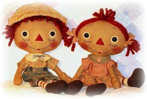 primitive doll pattern raggedy ann andy pattern girl or boy doll rag doll pattern cloth doll pattern pdf sewing pattern soft doll - Raggedy Ann And Andy