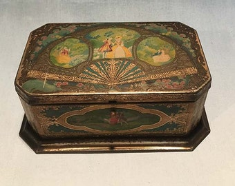 Vintage Chocolate Tin with Hinged Lid