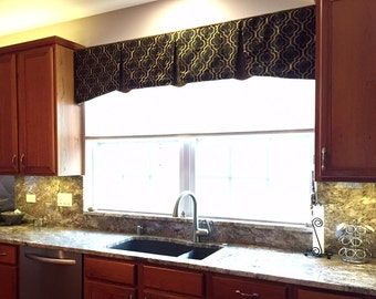 "Window Valance EMMA Hidden Rod Pocket® Valance fits 45""- 60"" window, custom valance, made with your fabric, price includes LABOR and lining"