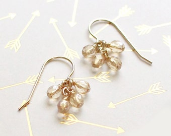 lucky in champagne - faceted gold earrings - summer earrings