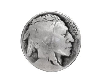 12 Tiny Indian Head 7/16 inch ( 11 mm ) Metal Buttons Silver Color