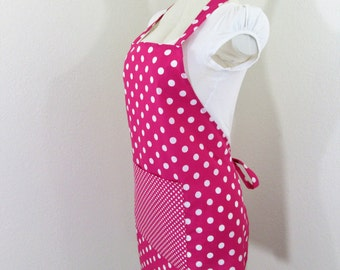 Adult Apron - Hot Pink Polka Dot Bib Apron - Fun Retro dots All Over, Great for cooking, baking, creating or painting, A fun chefs aprons