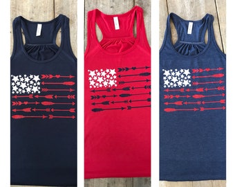 Fourth of July Womens Shirt, American Flag Tank Top, Womens Tank Top, Arrow flag tank top, Arrow American flag tank top, Womens America Tank