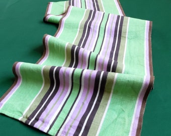 Vintage linen table runner Table cloth green and purple Stripes table scarf