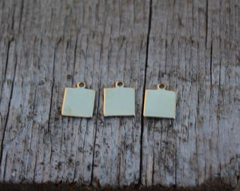 Premium Brass Stamping Blank-Small Square Jewelry Tag-Impressart 3/8 inch 18g  Metal Stamping Supplies by Metal Supply Chick-15 Pack