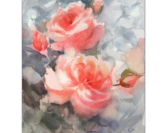 Roses - Original Watercolor Painting 8x10 inches