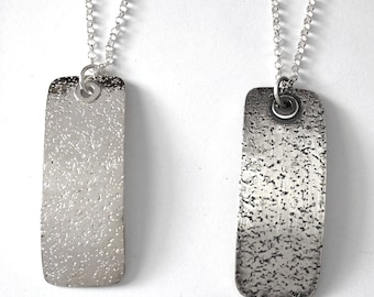 SPECKLES Women's Sterling Silver Pendant, Gift for Her, Textured, Curved Necklace, Dog Tag Shape, Unusual Design, Something Different