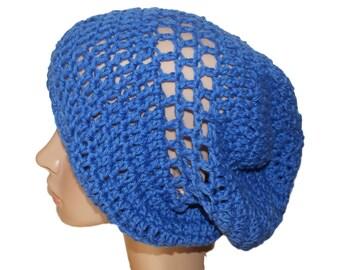 Blue Hat, Lightweight Beanie, Blue Slouch Hat, Womens Rasta, Hipster Hat, Boho Style Hat, Womens Tam, Oversize Beanie, Crochet Hat