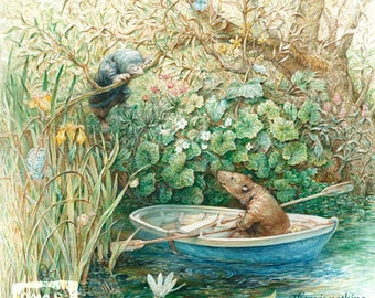 Mole and Ratty (print) Wind in the Willows, boating, garden, animals, fairy tale, storybook, artwork, illustration