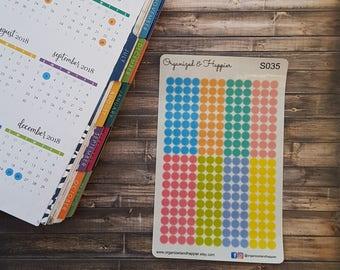 247 Circle Dot Transparent Stickers Erin Condren Happy Planner Multi Color Sheet Translucent Paper #S035