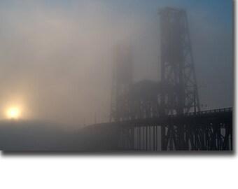 Fog Over Portland, Oregon's Steel Bridge