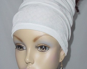 Headband-Tube-Head Wrap - Headwrap - Dreadlocks-Braids-Natural Hair-White-Virtuous Creations