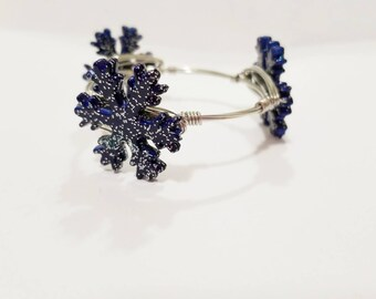 Bangle, bracelet, snowflake bangle, girls bangle, winter jewelry, christmas bangle