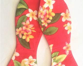 Vibrant Hawaiian Bow Tie & Pocket Square set. Red Hot/Coral Hawaiian print featuring Creamy white Plumeria blooms.  Tropical, Beach, Coastal