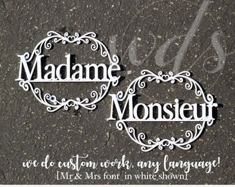 "Madame & Monsieur 12"" bride groom chair hang sign sweetheart table decor wedding vintage - Wedding Design Studio -"