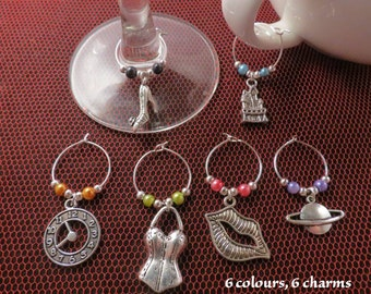 Rocky Horror Show wine glass / cup charms (set of 6).