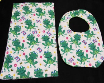 Frogs and Butterflies Burp Cloth with Baby Bib Set