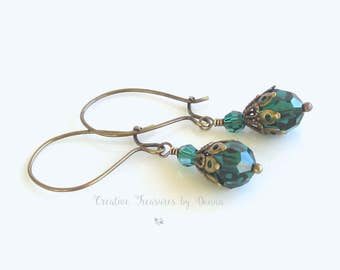 Emerald Green Brass Earrings Green Swarovski Crystals Victorian Earrings Emerald Green Earrings May Birthstone Jewelry
