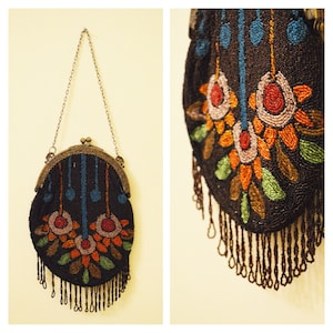Black Edwardian Beaded Purse