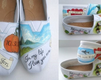 Bride's Love Story Wedding Shoes wedding Flats Unique Hand Painted TOMS Bridal Shower Gift Custom TOMS Painted Wedding TOMS Bride's Gift