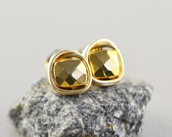 Pyrite Post Stud Earrings, Metallic Neutral Studs