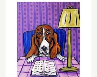 25% off Basset Hound Reading a Book Dog Art Print