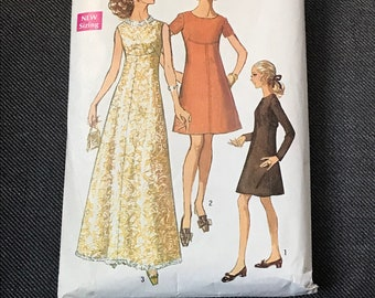 Vintage 1960s Empire Waist Evening Gown or Dress Sewing Pattern / Miss Petites' & Misses' Size 12, Bust 34 / Simplicity 8498
