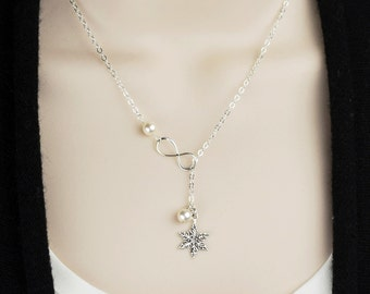 Snowflake Necklace Sterling Silver Pearl Necklace - Snowflake Bridesmaid Jewelry - Winter Wedding Jewelry - Snowflake Jewelry