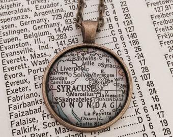 Syracuse Vintage Map Necklace