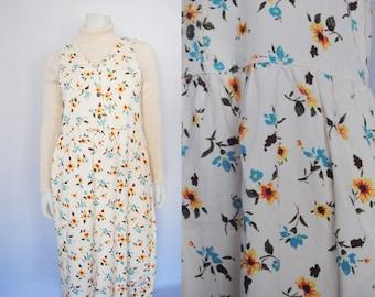 90s floral denim jumper, vintage babydoll dress -- button down, empire waist, jumper dress, grunge dress, white denim, 1990s 90s clothing