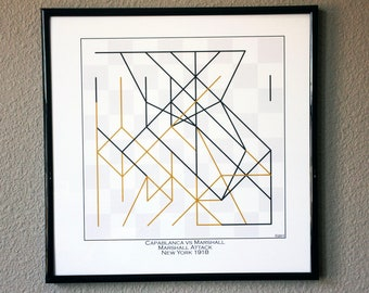 Chess Player Gift * Chess Board Art Print* Capablanca vs Marshall 1918