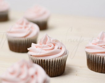 Styled Stock Photography   Chocolate Cupcakes with Pink Frosting   Styled Food Photography   Digital Image