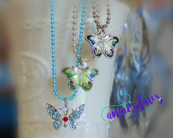 Ball Chain Necklace - Jeweled Butterfly