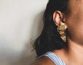 Minimal Statement Earrings | Dangle Earrings | Palm Leaf Earrings | Gold Earrings | Brass Earrings