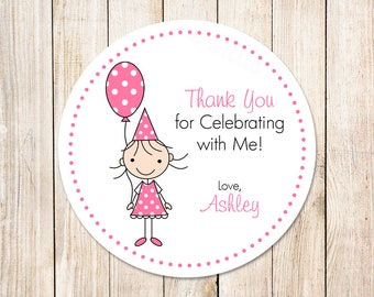 birthday girl favor tags . stickers . birthday balloon . personalized stick girl pink . set of 12