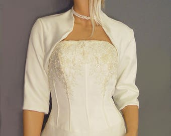 Satin bridal bolero jacket wedding shrug coat 3/4 sleeve cover up SBA101 AVAILABLE in ivory and 5 other colors. Small through plus size!