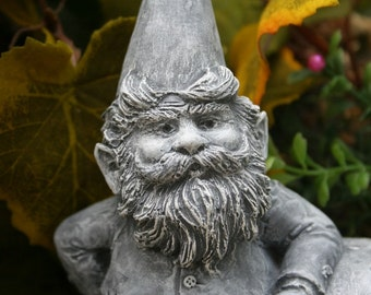 What An Awesome Garden Gnome!  Heirloom Quality Concrete Garden Statue