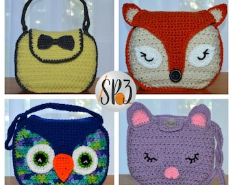 Girls Handbag Crochet Pattern - Owl, Fox, Kitten, Bow