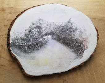 Bear Landscape on Natural Wood Slab, Art on Wood, 8x10 Inches, Ready to Hang, Rustic, Wall Art, Home Decor