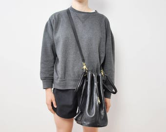 90s Black Leather Bucket Bag with Brass Hardware