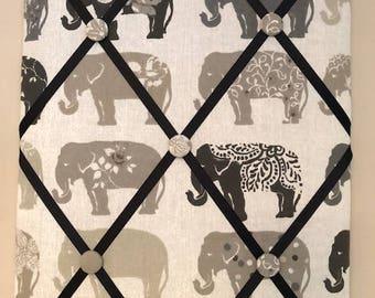 Fabric Memo Board - Elephant Grey and Beige Fabric