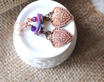 Ethnic Earrings, Copper Earrings, Lampwork Bead Earrings, Red Purple Earrings, Tribal Shield Earrings, Unique Boho Earrings, Artisan Earring