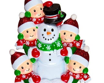 Family Building Snowman Of 5 Personalized Christmas Ornament - 5 People Building a Snowman Personalized Ornament - Family Ornament