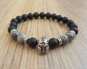 mens bracelet grey jasper bracelet for men helmet bracelet helmet jewelry warrior bracelet mens spartan bracelet gladiator bracelet for him