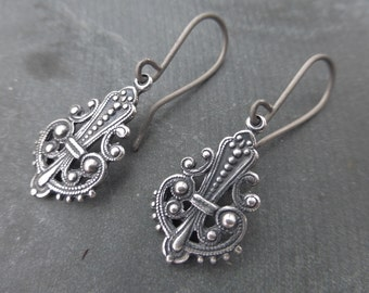 Antiqued Silver Ox Ethnic Open Filigree Teardrop Earrings With Hypoallergenic Titanium OR Sterling Silver Ear Wires - Boho - Gypsy - Tribal