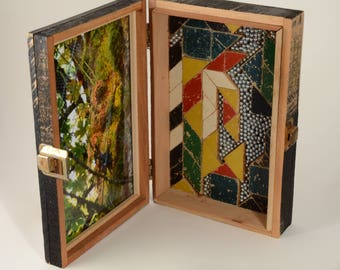 Enchanted: Mixed Media Cigar Box Photo  with Mosaic in gold, green, and orange and silver by Leslee Lukosh of Foundturtle in Portland.