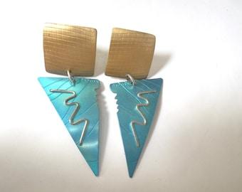 Geometric Earrings Vintage 80s Anodized Aluminum Avant Garde david badman