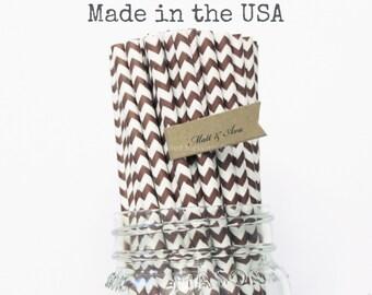 25 Brown Paper Straws Chocolate Brown Chevron Striped Cake Pop Sticks Retro Vintage Straws, Rustic Wedding, Baby Shower Birthday Made in USA